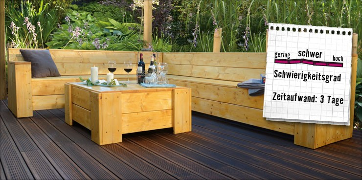 gartenlounge bauen anleitung von hornbach schweiz. Black Bedroom Furniture Sets. Home Design Ideas