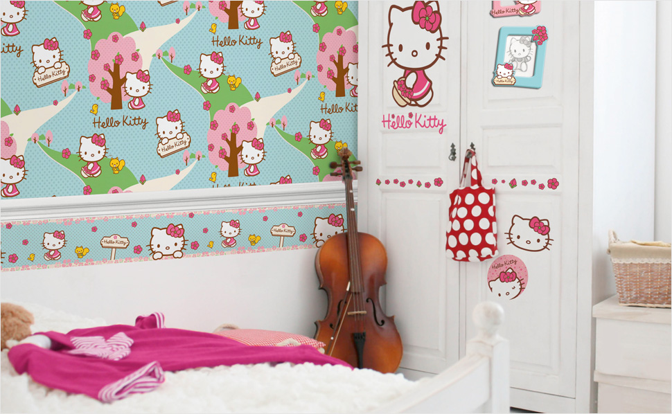 Kinderzimmer Tapeten Hornbach : Kindertapete Kids@Home Hello Kitty woodland stroll blau 26, 05 00 CHF