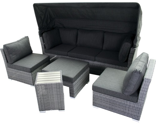 loungeset everton polyrattan 5 sitzer 3 teilig anthrazit. Black Bedroom Furniture Sets. Home Design Ideas
