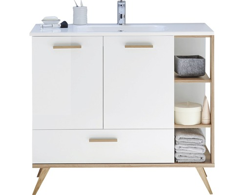 meuble sous vasque pelipal noventa blanc hauteur 87 5cm largeur 100 5cm sans lavabo acheter. Black Bedroom Furniture Sets. Home Design Ideas