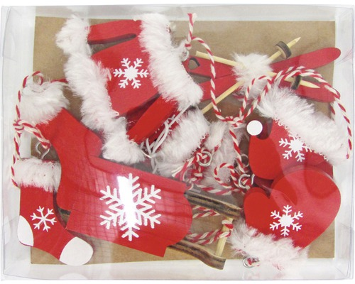 Decoration Pour Sapin De Noel Suspension En Bois 6 Un Rouge Blanc