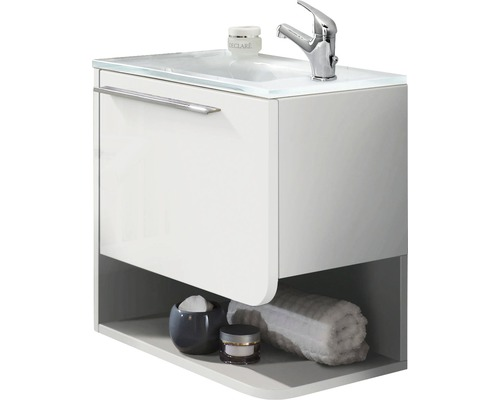 meuble sous vasque marlin bad 3010 blanc mont largeur 50 cm brillant