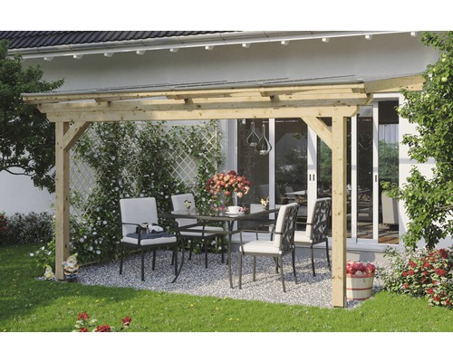 Toiture pour terrasse SKAN HOLZ Ancona 434x400 cm nature