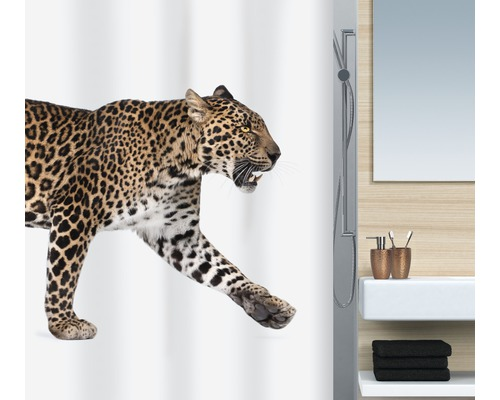 duschvorhang spirella leopard beige 180x200 cm kaufen bei. Black Bedroom Furniture Sets. Home Design Ideas