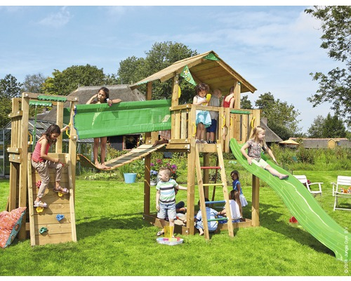 spielturm jungle gym chalet bridge holz mit sandkasten. Black Bedroom Furniture Sets. Home Design Ideas