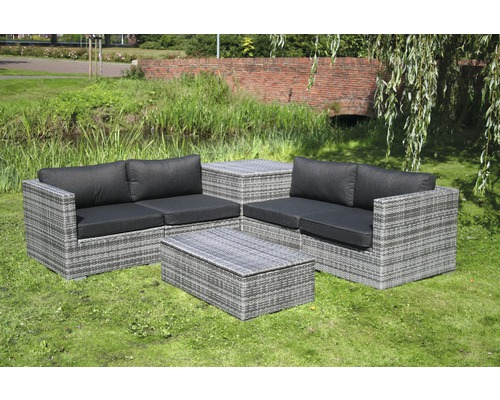 loungeset madrid polyrattan 4 sitzer 6 teilig grau kaufen bei. Black Bedroom Furniture Sets. Home Design Ideas