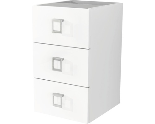 armoire sous lavabo florida 3 tiroirs 30 cm blanc brillant. Black Bedroom Furniture Sets. Home Design Ideas