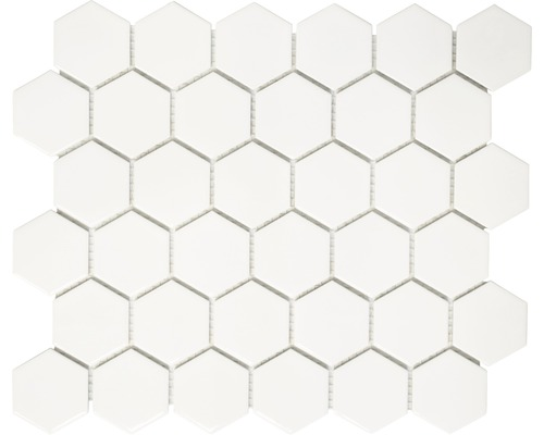 mosa que c ramique hexagon uni blanc mat cm acheter sur. Black Bedroom Furniture Sets. Home Design Ideas