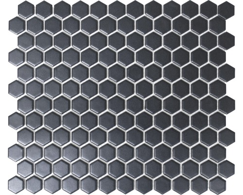 Mosa que c ramique hexagon hx065 uni noir mat 26x30 cm for Carrelage hexagonal noir mat