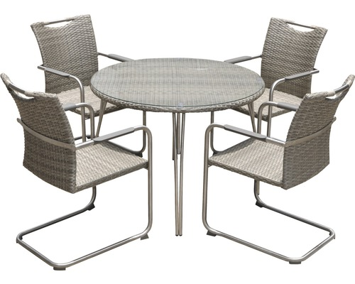 gartenm bel set dacosta polyrattan 4 sitzer 5 teilig beige kaufen bei. Black Bedroom Furniture Sets. Home Design Ideas
